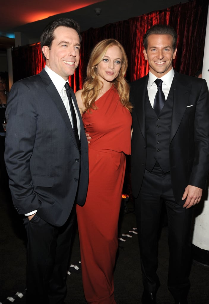 Heather Graham was flanked by her The Hangover costars Ed Helms and Bradley Cooper in 2010.
