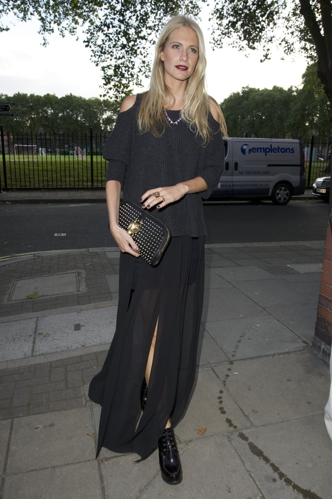 Poppy Delevingne made the rounds at London Fashion Week with a Burberry Prorsum studded clutch tucked under arm, adding interest to a moody Fall combo.