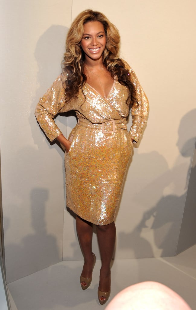 A pregnant Beyoncé showed off a sequined baby bump during J.Crew's presentation in September 2011.