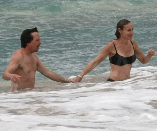 Slide Photo of Michael J Fox and Tracy Pollan on the Beach
