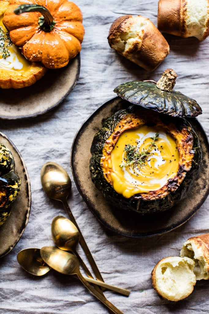 Cheddar Apple Pumpkin Soup With Sage Popovers