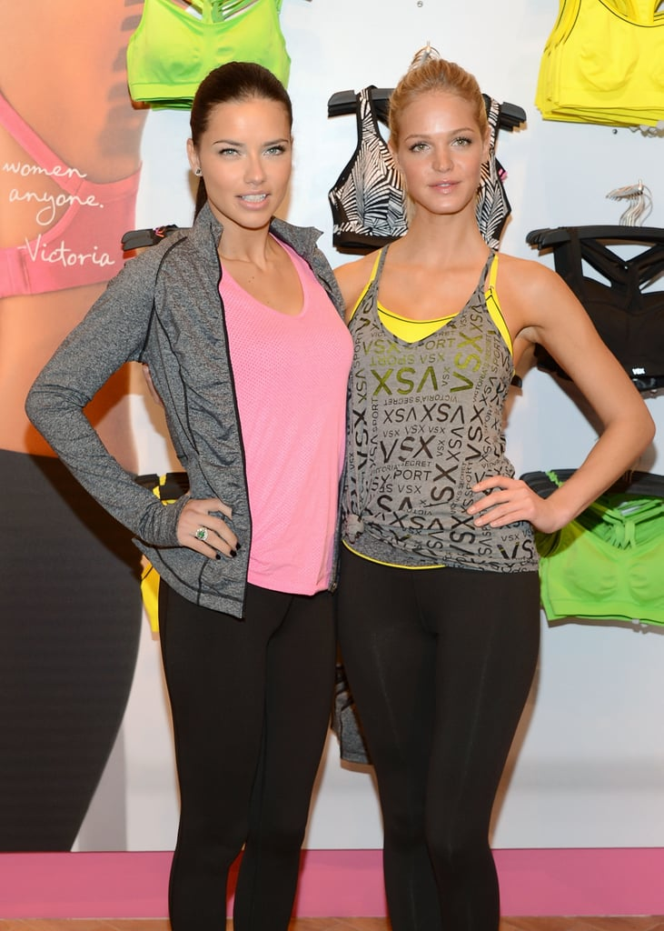Adriana Lima and Erin Heatherton attended the launch of the VSX collection for Victoria's Secret in NYC.