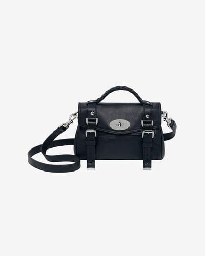 Mulberry Mini Alexa Soft Leather Satchel: Black