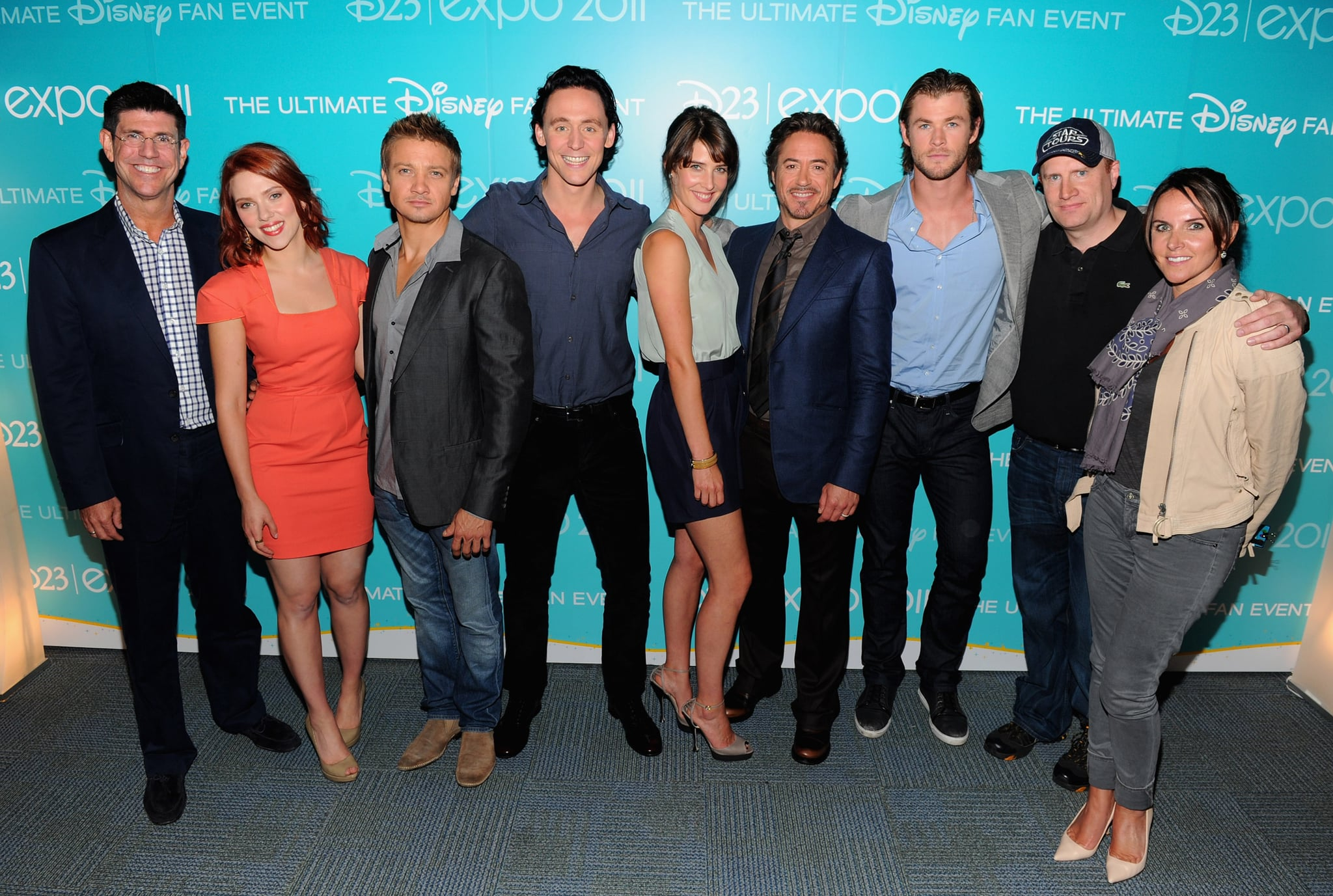 The Avengers cast, Disney execs, and producers struck a pose.