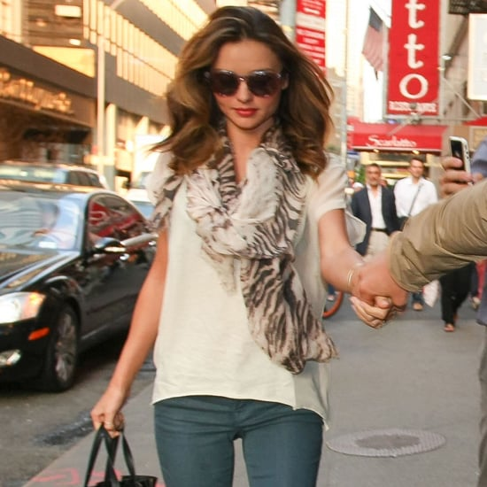 Miranda Kerr Wearing Coated Denim