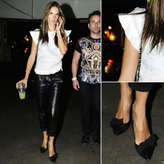 Alessandra Ambrosio Ruffled Top and Leather Pants