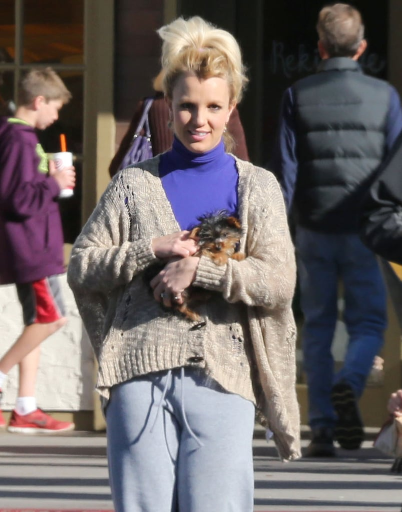 Britney Spears carried her pup, Hannah, to Starbucks.