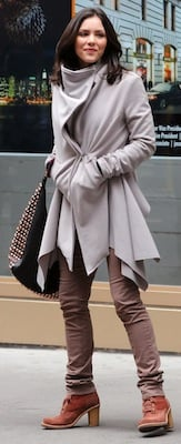 Katherine McPhee Wrap Coat Stud Bag NYC