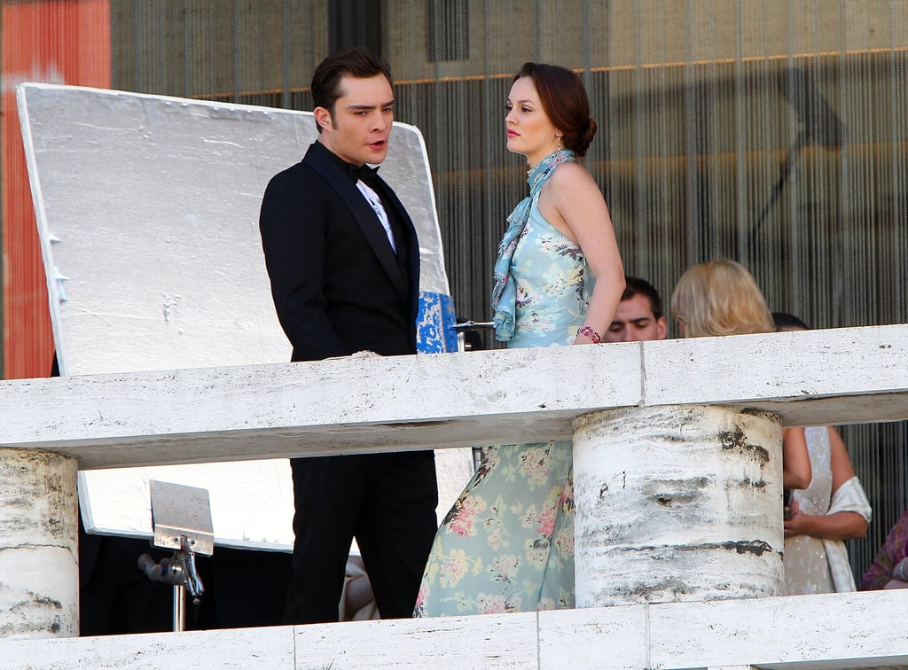 Ed Westwick and Leighton Meester Filming Gossip Girl