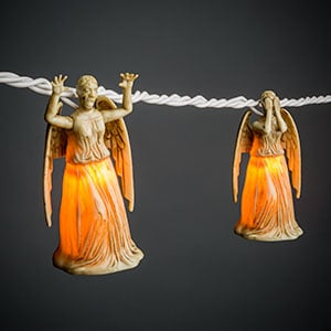 DON'T BLINK! Any Doctor Who fan can tell you that the Weeping Angels are among the scariest creatures ever imagined. These creatures are inanimate statues as you are looking at them....until you blink  and they advance towards you. These Doctor Who Weeping Angel String Lights ($18 for 10 lights, originally $25) are the perfect gift for the Whovian in your life...and they blink.