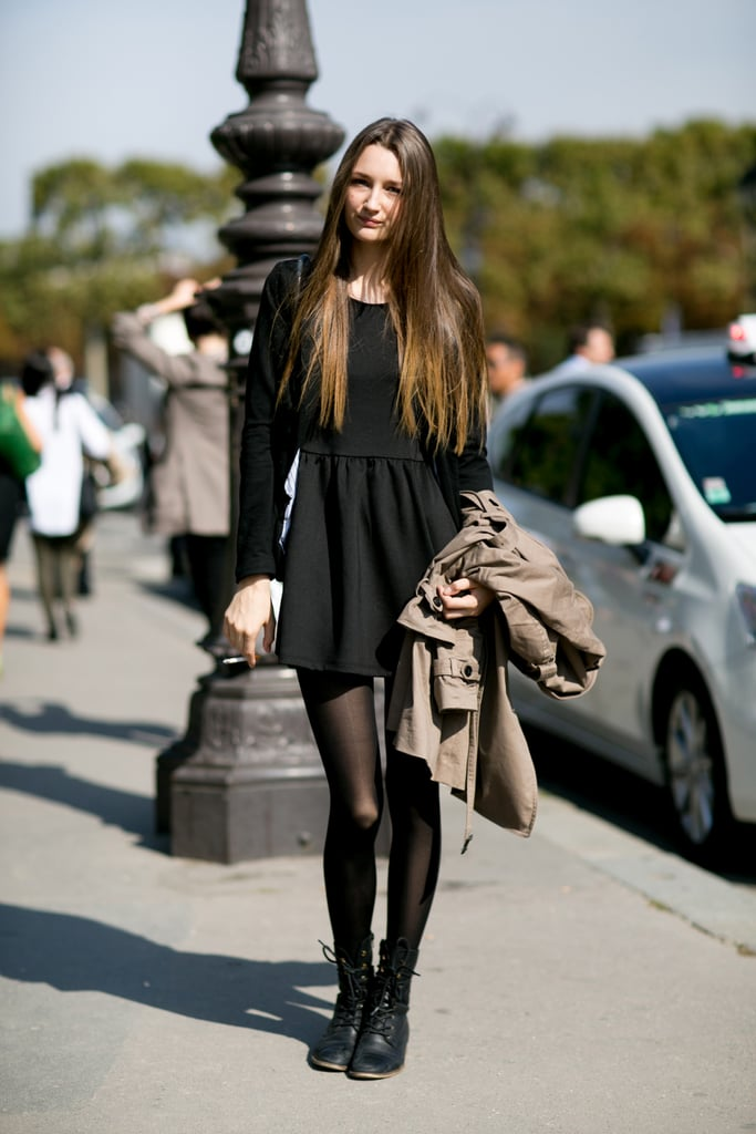 The little black dress, executed with little black boots.