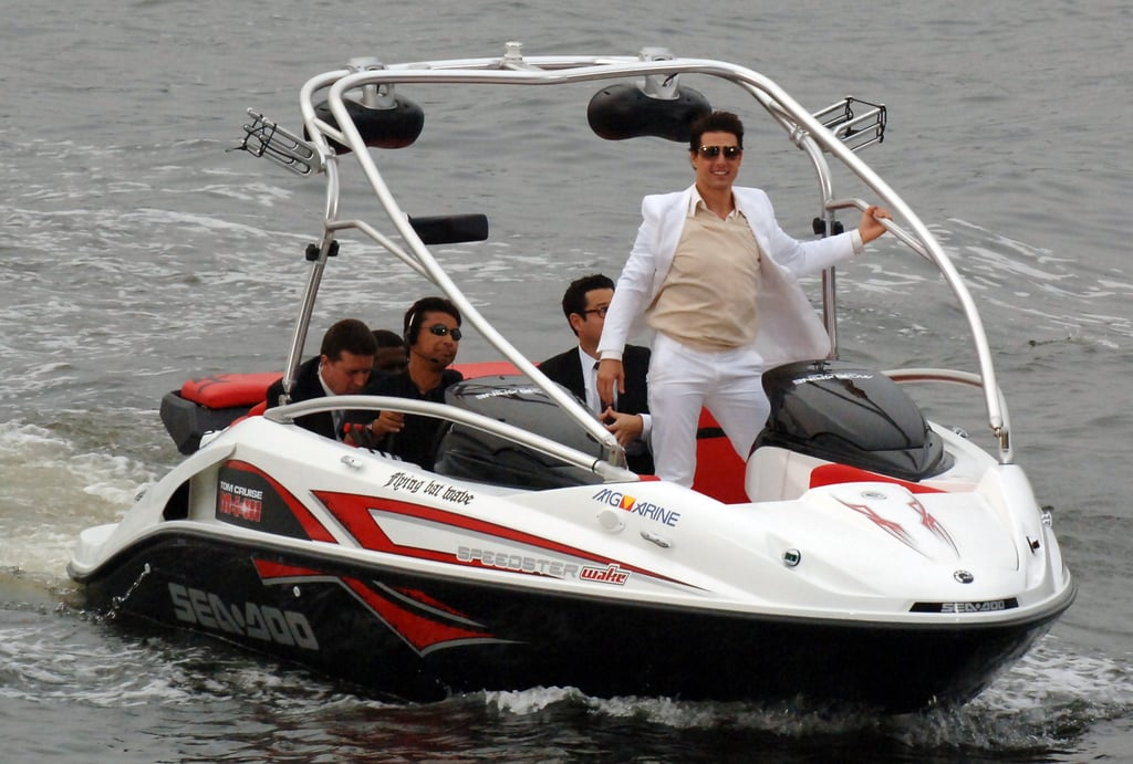 Tom Cruise took a boat right up to the Mission: Impossible III Tokyo premiere in June 2006.