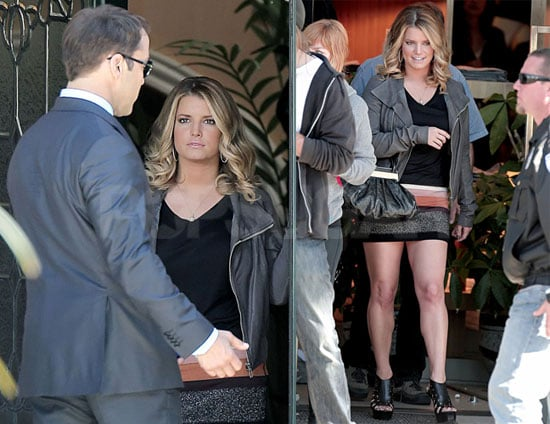 Pictures of Jessica Simpson Filming a Cameo on Entourage With Jeremy Piven And Rex Lee