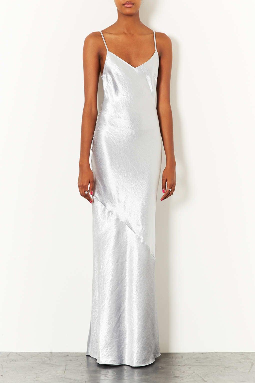 Topshop Metallic Silver Maxi Dress