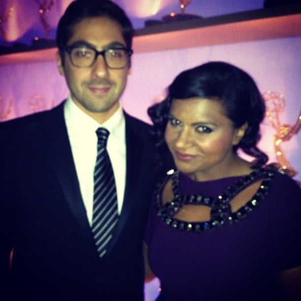 """Mindy Kaling and her """"great date,"""" writer Jeremy Bronson, hung out backstage. Source: Instagram user mindykaling"""