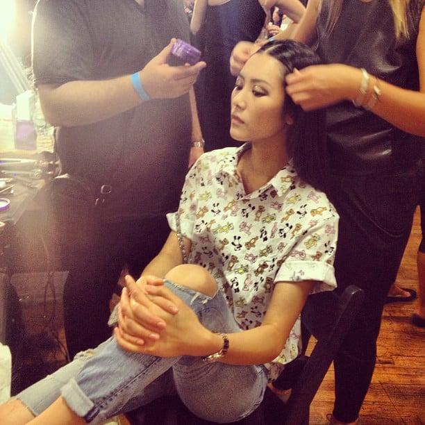 Girl crush! Model Liu Wen got dolled up by the Kérastase team before her Jason Wu appearance.