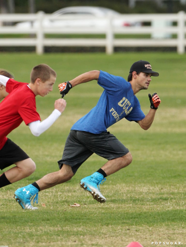 Taylor Lautner raced his friends.