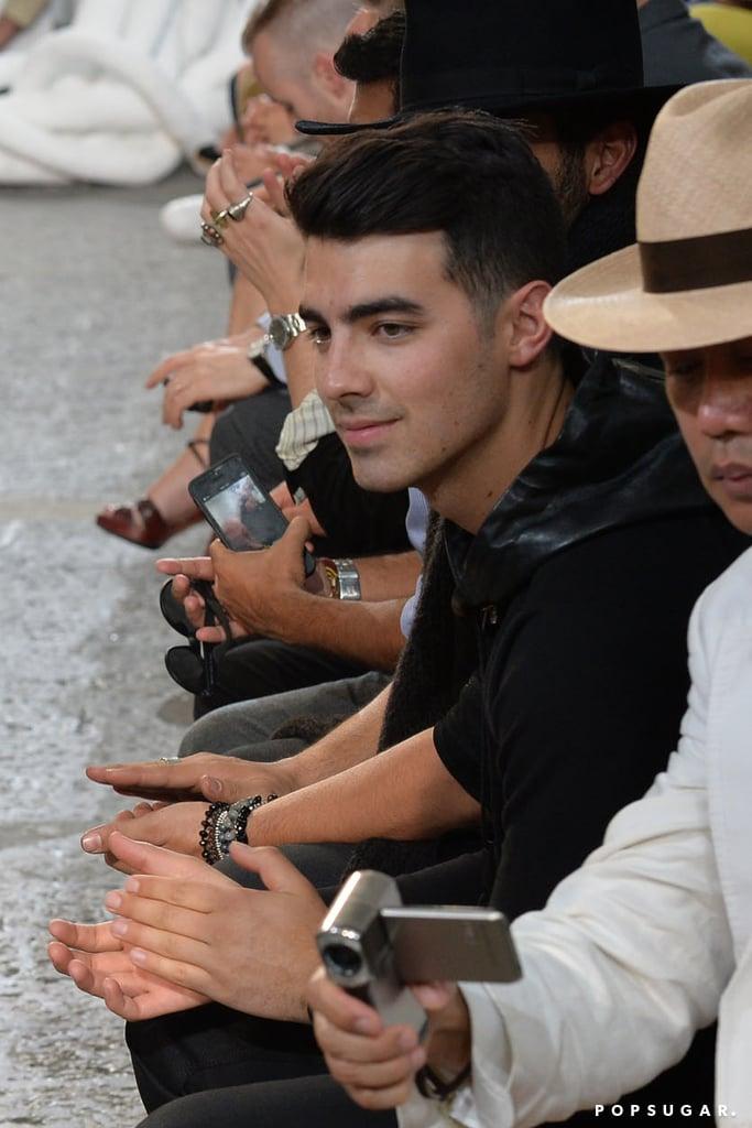 Joe Jonas sat in the front row at the John Varvatos fashion show in Milan, Italy, on Saturday.