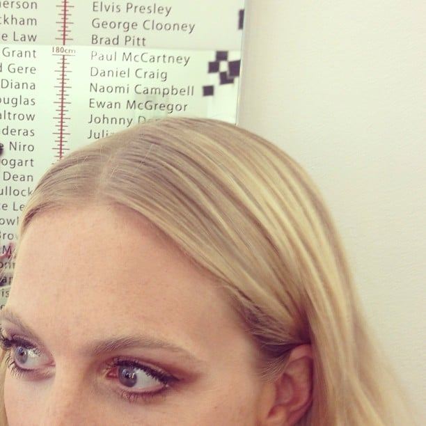 Poppy Delevingne gave us a close-up look at her sweeping bronze eye makeup, and an interesting look at some celebrity heights (Elvis Presley, who knew?). Source: Instagram user poppydelevingne