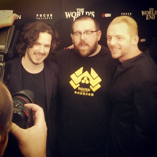 Ahhh, it's The World's End! Edgar Wright, Nick Frost, and Simon Pegg talk aliens at the movie's Comic-Con event.