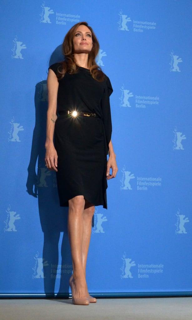 Angelina Jolie in a black dress.