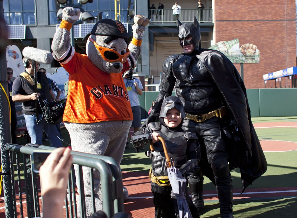 Lou Seal celebrated after being rescued by Batkid.