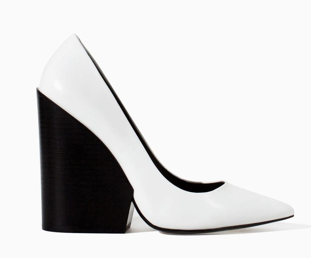Zara black and white pointy-toe wedge heels ($129)