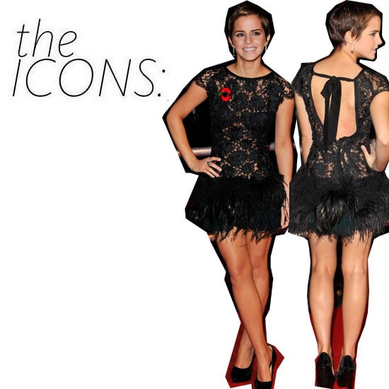 Emma Watson's Iconic Feathered Black Dress and Short Hair