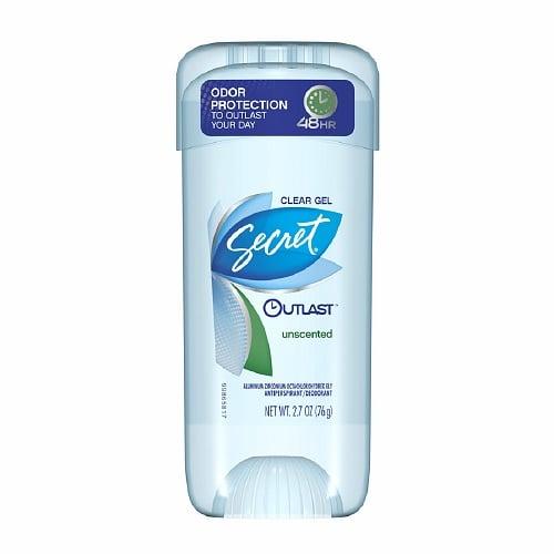 Secret Outlast Antiperspirant & Deodorant Clear Gel, Unscented, $5
