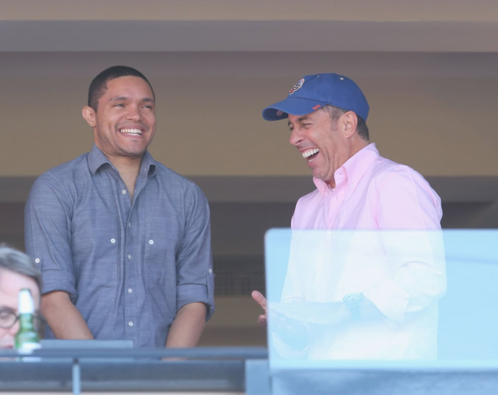 Jerry Seinfeld had a big laugh with Trevor Noah, the next host of The Daily Show, at the NY Mets vs. Philadelphia Phillies game in NYC on Monday.
