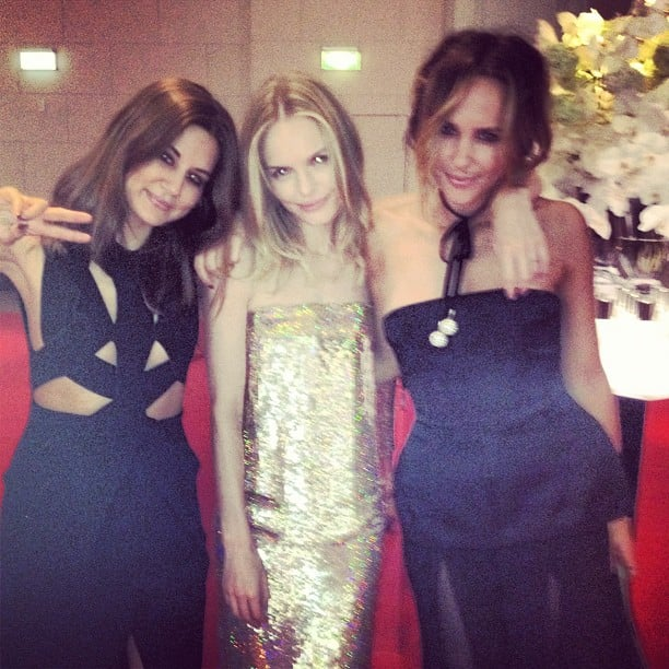 Vogue senior fashion editor Christine Centenera, Kate Bosworth and Pip Edwards caught up at the SK-II dinner in Sydney on Thursday night. Source: Instagram user pip_edwards1