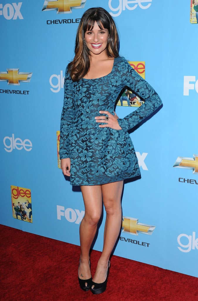 For the Glee season two premiere in 2010, Lea Michele wore a teal brocade mini from Erdem's Fall '10 collection.