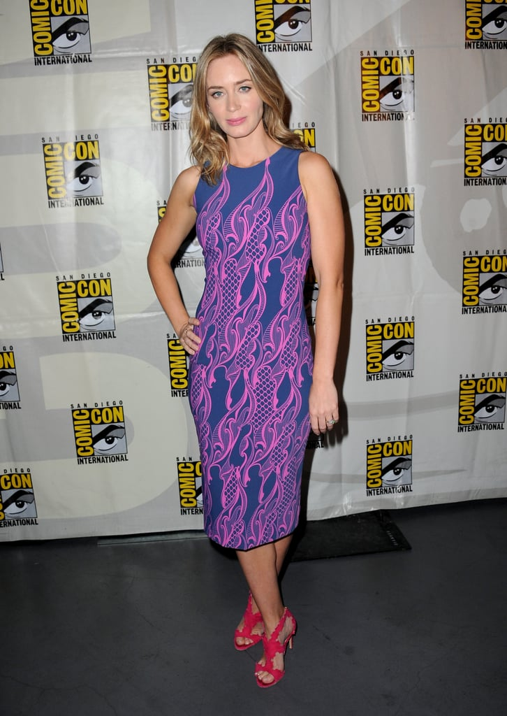 Emily Blunt wore a Fall 2013 Wes Gordon dress and Rupert Sanderson heels at a preview event for Warner Bros. and Legendary Pictures.