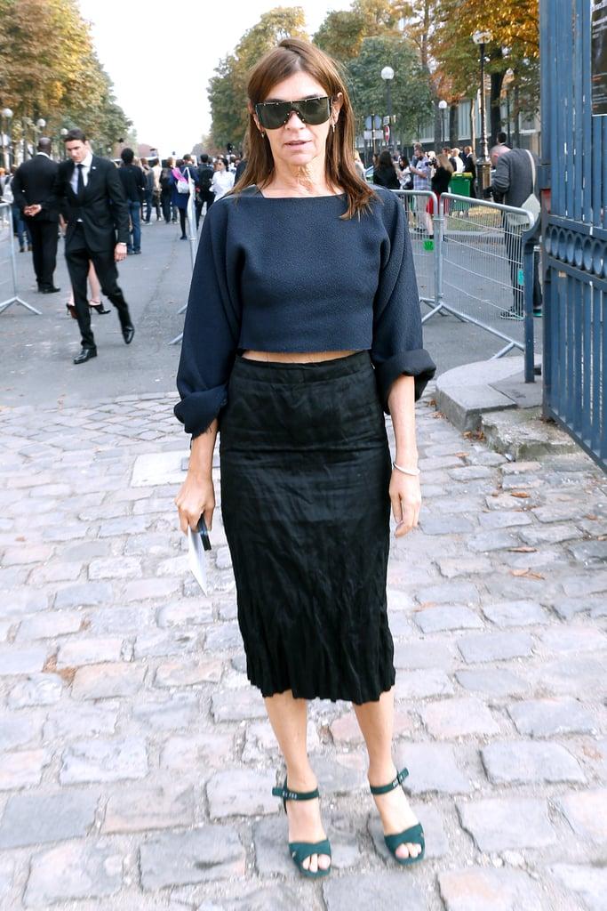 On Thursday, Carine Roitfeld attended the Balenciaga show.