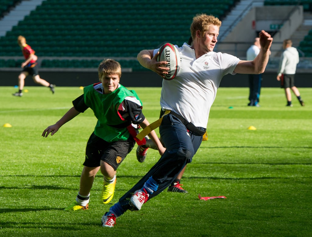 Prince Harry took part in a rugby training session.