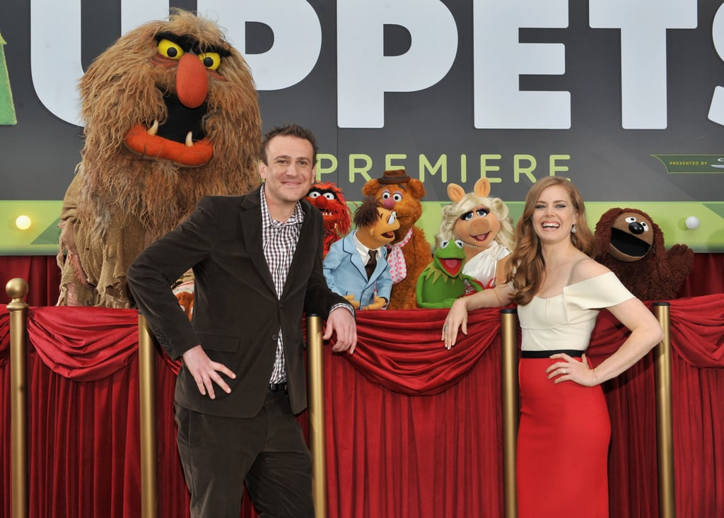 Amy and Jason met up with their Muppet costars before heading into the theater.