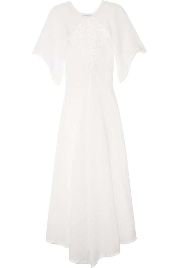 Another great find for the more bohemian romantic.  Tara Matthews Crochet-Paneled Cotton Dress ($410)