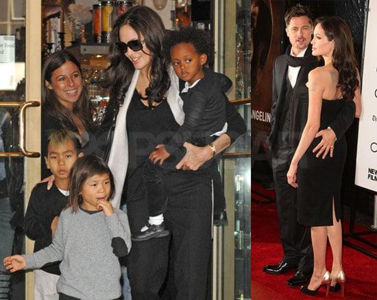 Photos of Brad Pitt, Angelina Jolie, Clint Eastwood at Changeling Premiere, Maddox, Pax, Zahara at Lee's Art Shop