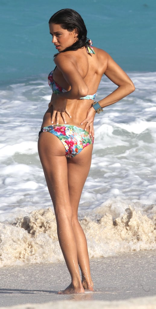 Adriana Lima showed off her toned behind on the beach in St. Barts in January 2012.