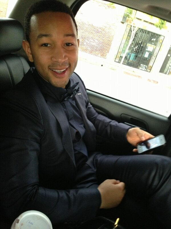 Chrissy Teigen posted a cute picture of John Legend in the limo on their way to the Grammys.  Source: Twitter user chrissyteigen