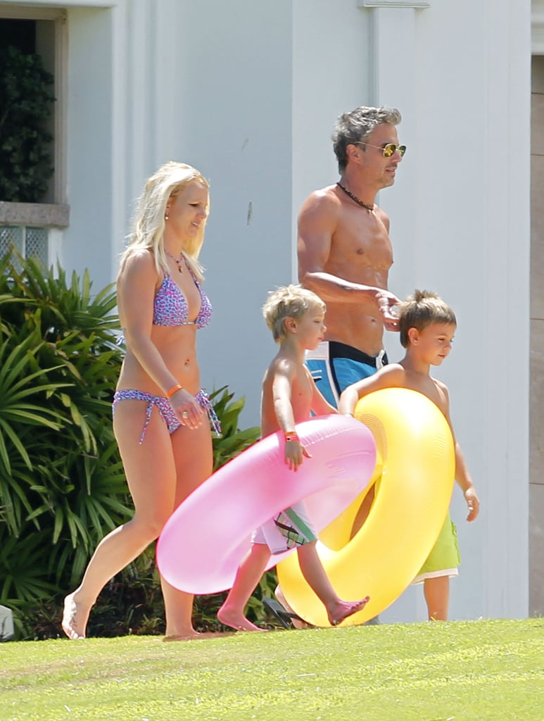 Britney Spears Hits the Pool in a Bikini With Shirtless Jason and Her Boys