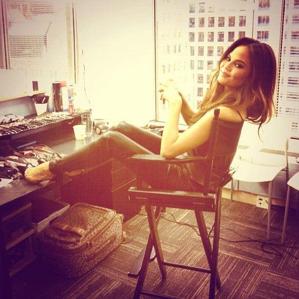 Chrissy Teigen lounged in a pair of leather pants before her appearance on VH1 Buzz. Source: Instagram user vh1