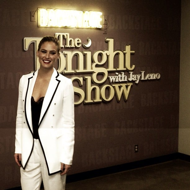 Bar Refaeli wore a menswear-inspired look for an appearance on the Tonight Show With Jay Leno. Source: Instagram user barrefaeli