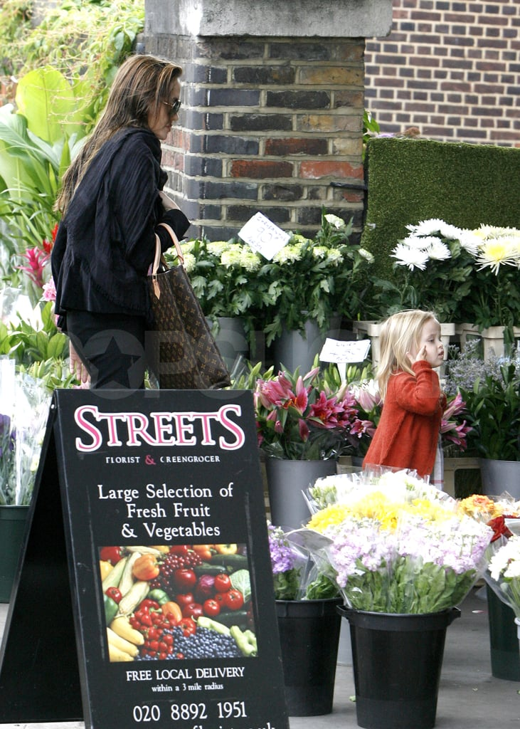 Angelina and Vivienne Brighten Their London Day With Flowers