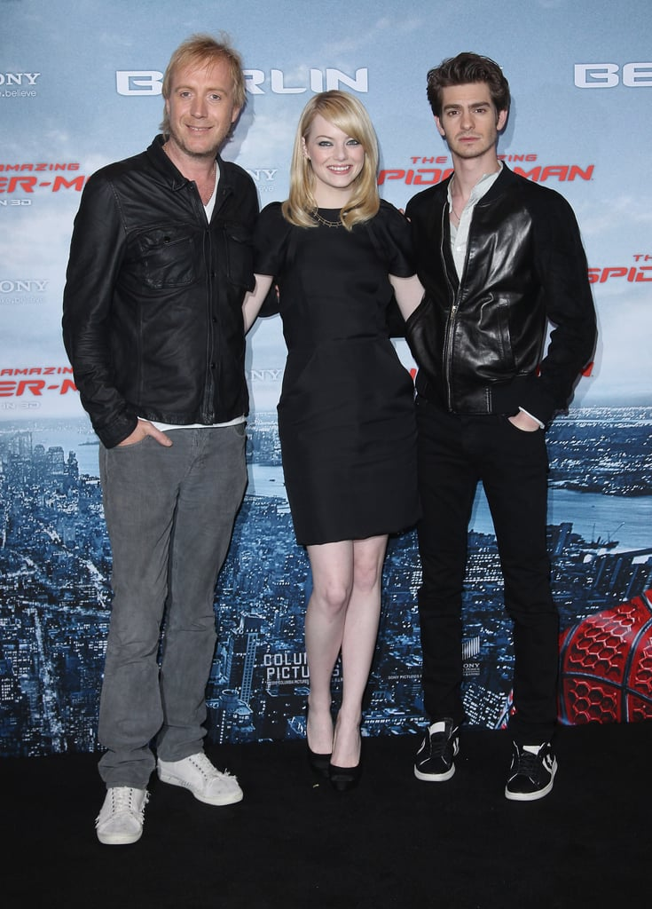 Rhys Ifans, Emma Stone, and Andrew Garfield got together at the Berlin photocall for The Amazing Spider-Man.