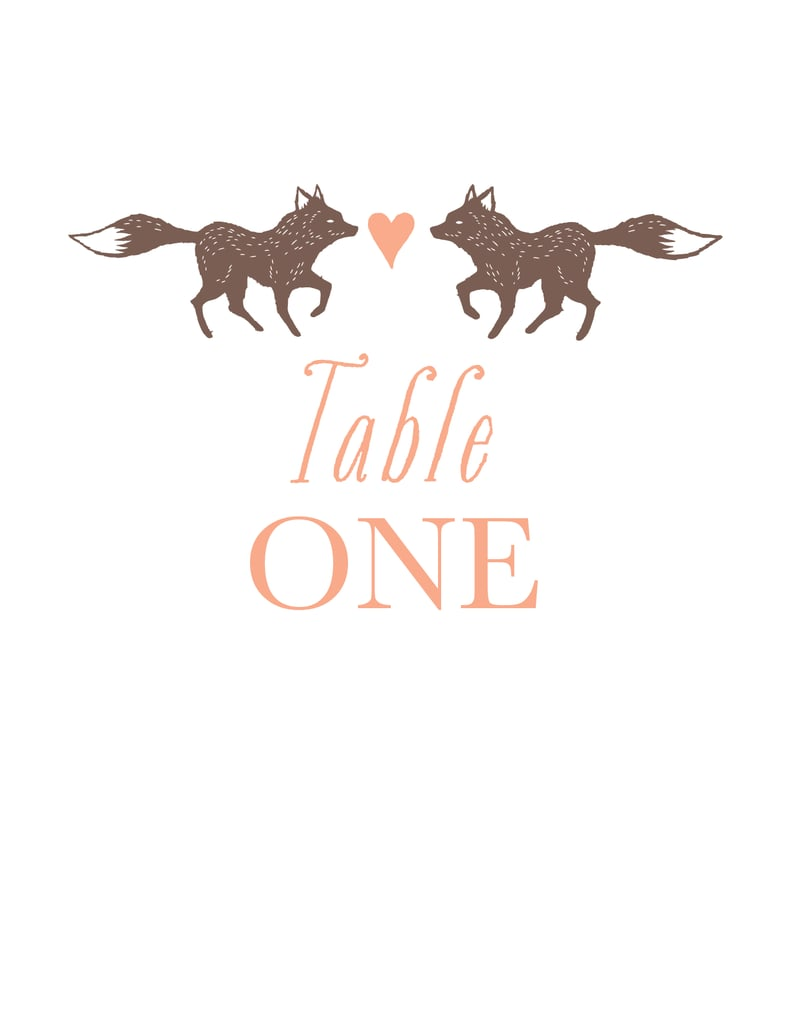 Foxes Table Numbers