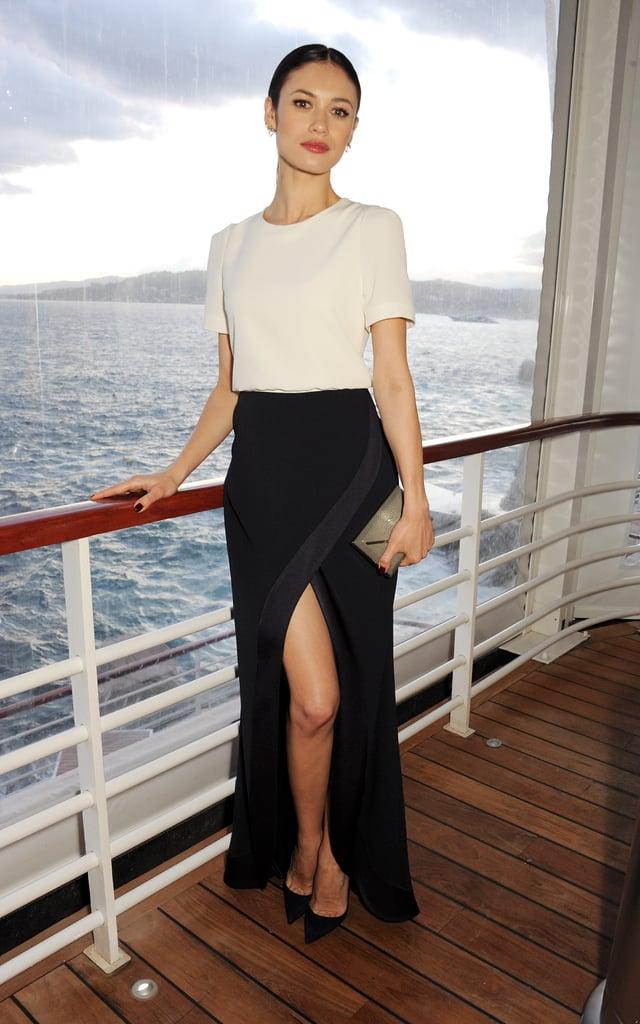 Olga Kurylenko posed on a boat at Finch's Quarterly Review filmmakers' dinner on Friday.