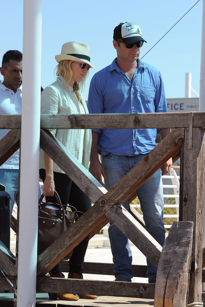 Naomi Watts and Liev Schreiber both wore hats for a boat trip to the Venice Film Festival.
