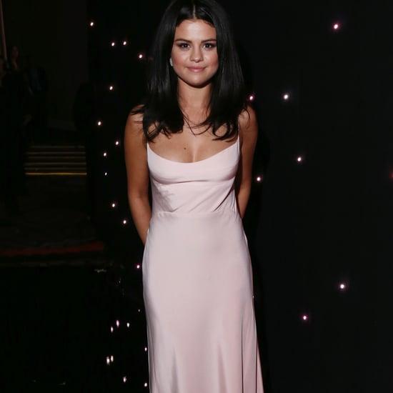 Selena Gomez Wears Pink Slip Dress at Hollywood Film Awards