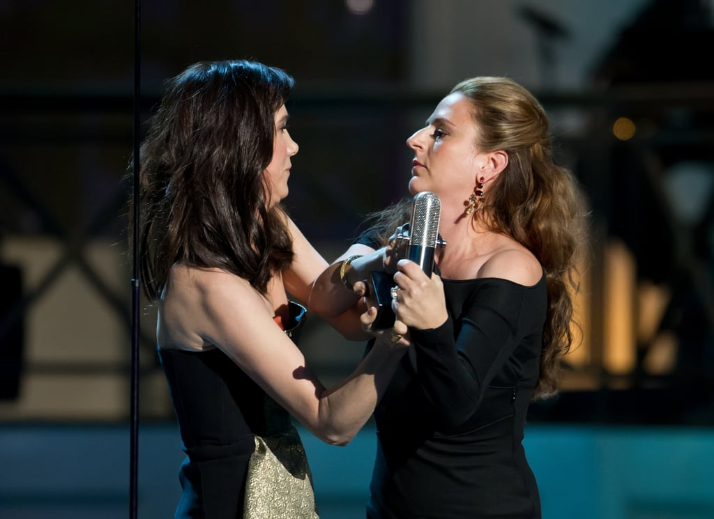 Kristen Wiig and Annie Mumolo had some fun on stage at the Comedy Awards in NYC.
